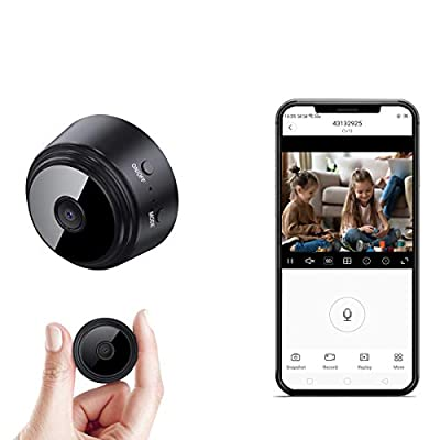 Mini-Spy-Camera-WiFi 1080P Wireless Hidden Camera, Spy Cam Nanny Cam Audio Record Live Streaming, Small Surveillance Camera Night Vision Motion Detection for Home/Security/Car (with PC/Phone APP)