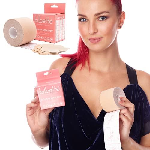 Brustband BH-Tape mit Nipple-Covers, Klebe-BH für große Brüste Cup A-K, Boob Tape Klebeband L5m x B5cm, Lifting, Push-UP, Rückenfreies, Bruststraffungsband im Set mit 3x2 Brustwarzenabdeckungen
