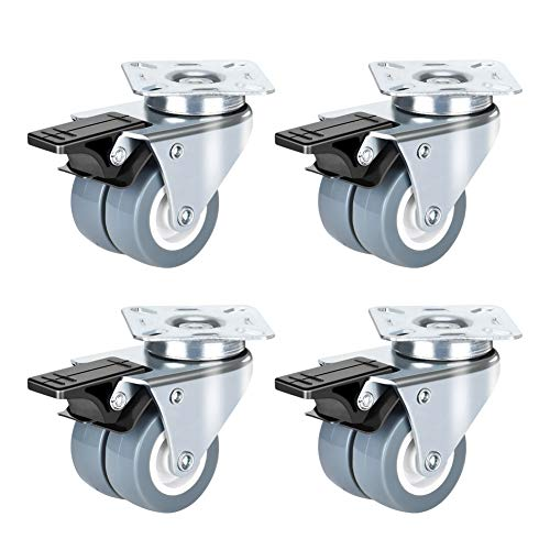 Queta 2 Inch Flat Plate Casters Wheels Double Castors Lockable Bearing Caster Wheels with Brake Set of 4 Swivel Casters for Furniture and Workbench