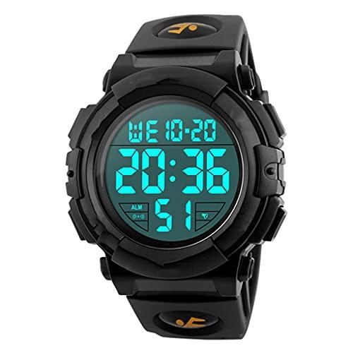 DSJMUY Relojes,Reloj Digital para Hombres,50m Cronógrafo Impermeable para Exteriores Relojes Deportivos para Hombres con Retroiluminación Led Y Alarma Azul