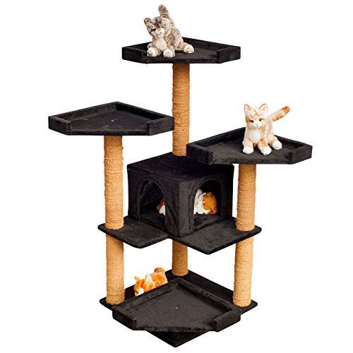 """VOSS.PET Kratzbaum - Hochwertiger Katzenkratzbaum """"Sylvester großen Katzenhöhle und robustem Kokosseil, Höhe: 114 cm, Farbe wählbar – Der Kletterbaum für Ihren Liebling"""
