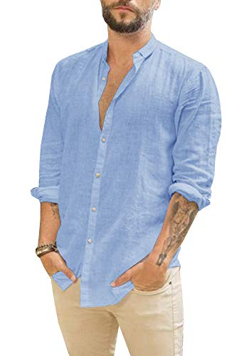 Gemijacka Herren Leinenhemd Kurzarm & Langarm Herren Hemd Sommerhemd Herren Regular Fit Freizeithemd XL Blau