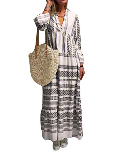 Minetom Damen Boho Maxikleid V-Ausschnitt Strandkleid Freizeit Sommer oder Herbstkleid Hippie Kleid Böhmen Langes Kleid Plus Size Schwarz XL