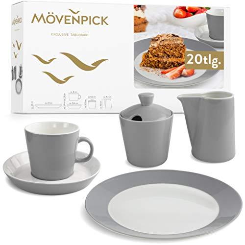 Mövenpick Geschirrset 6 Personen – Kaffee Set Grau aus Porzellan – Spülmaschinen- und Mikrowellengeeignet – 20tlg Teller Set