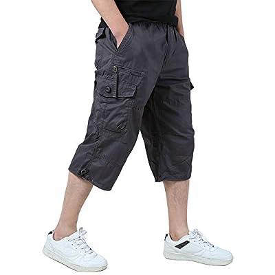 EKLENTSON Men's Hiking Shorts Cargo Baggy Shorts Loose Fit Army Outdoor Camping Shorts Purplish Gray