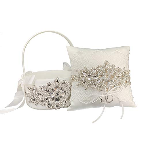 LAPUDA Beautiful Hand Nailed Beads of Wedding Flower Basket with Elegant Appearance and Ivory Color,Clusters of Stars Style (1 Basket and 1 Pillow)