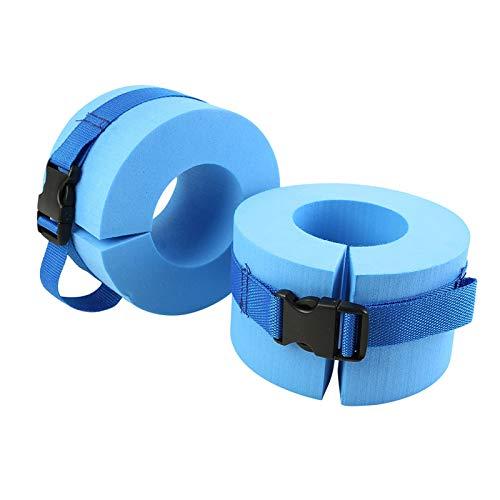 Clacce Schaumstoff-Schwimmmanschetten, Wasser-Aerobic, Schwimmring, Fitness-Übungs-Set, Knöchel, Arme, Gürtel mit Schnellverschluss-Schnalle für Schwimm-Fitness-Training, 2 Stück, blau