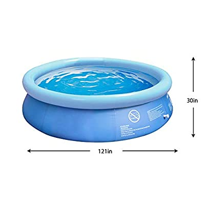 Summer Inflatable Ground Swimming Pool- 10 x 2.5 Foot Outdoor Swimming Pool with Hand Pump- Suitable for Adults, Kids, Toddlers- Fun Water Pool Party for Garden, Backyard- Anti-Tear & Anti-Riot Sun