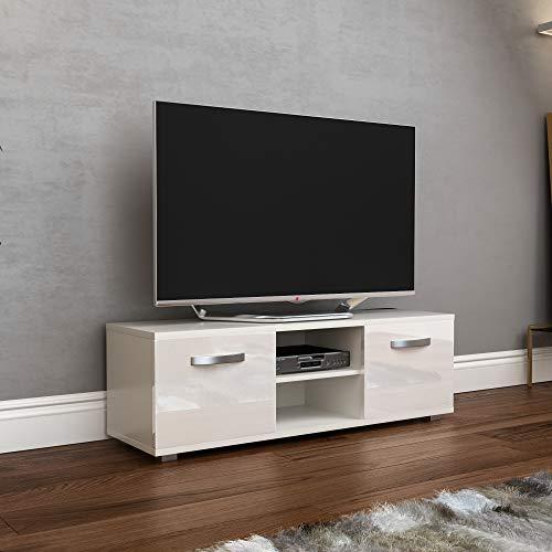 Vida Designs Cosmo Fernsehschrank TV Bank 2 Türen Modern Glänzend Matt MDF Wohnzimmer Schränkchen Medienständer Medienhalter Möbelstück Weiß 120cm