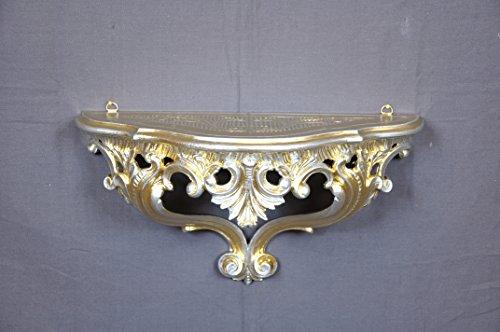 Ideacasa Louis XVI Étagère console en argent doré style baroque vintage 20 x 38,5 x 15,5 cm
