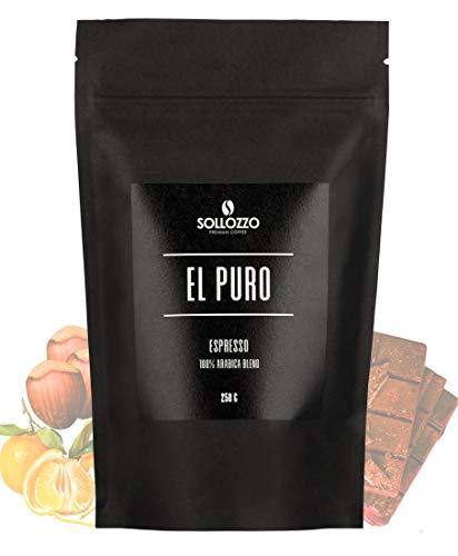 Sollozzo - El Puro Premium Espresso - 250g ganze Bohnen - 100% Arabica mit Aromen der Haselnuss - fruchtige Frische der Mandarine - schonend geröstet