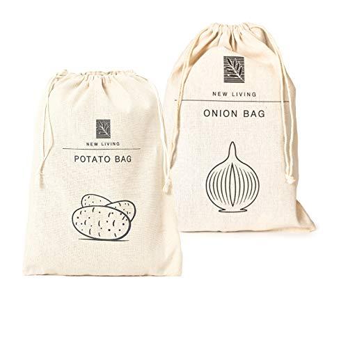 New Living Sac de rangement pour pommes de terre et oignons en coton et lin 26 x 38 cm