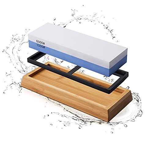 MIDO Professional Abrasive Whetstone Sharpening Stone Set Dual Sided Grit 1000/6000 Wet Stone, Knife Sharpener Stone with Non-slip Bamboo Base, Stone Knife Sharpener for Kitchen