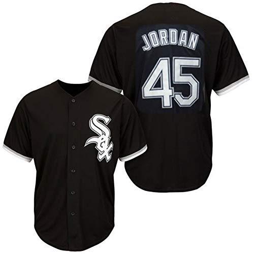 # 45 CWS Jordan White Sox, Baseballuniform Herren Baseball Kurzarm T-Shirt Spiel Team Uniform Button Top Sweatshirt Real Jersey M-3XL-#45black-M