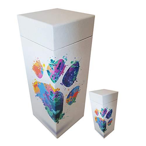 ScatterPod Urne für Haustiere, Pfotenabdruckmotiv, Regenbogenfarben, 2 Stück