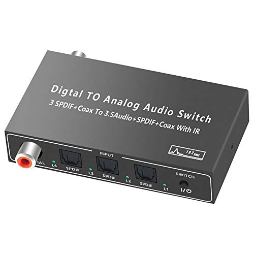 VBARV Decodificador de 2 Canales Conmutador óptico coaxial 4x3 , 24bit 192K DAC 5.1CH a RCA 3.5MM Convertidor SPDIF/TOSLINK Extender con Control Remoto IR