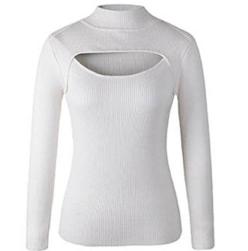 YABINA Women Sexy Keyhole Front Tight Turtleneck Pullovers Sweater