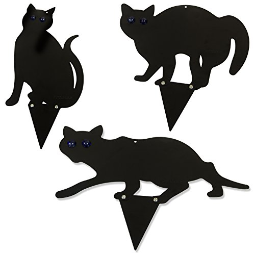 Woodside Set Of 3 Black Cat Garden Scarer Deterrent Pest/Bird/Rodent/Fox/Pond