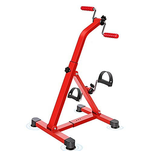 Ejercitador de pedal plegable, Pedalier Brazos y Piernas ajustable con mango de masaje, para personas mayores Gimnasio en casa Entrenamiento total del cuerpo/Red / 84x42x41cm