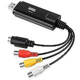 August VGB100 - Capturadora de Video y Audio con Cable de Transferencia USB 2.0, Negro