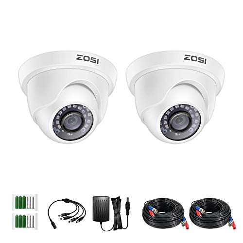 ZOSI 2 Pack 2MP 1080p HD-TVI Home Security Camera Outdoor Indoor 1920TVL, 24PCS LEDs, 80ft Night Vision, 90°View Angle, Weatherproof Surveillance CCTV White Dome Camera