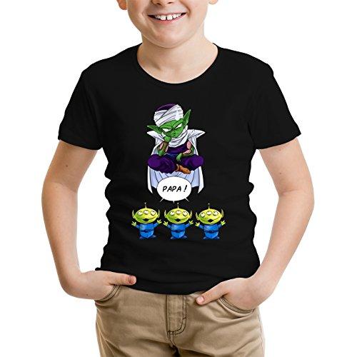 Okiwoki T-Shirt Enfant Noir Dragon Ball Z - Toy Story parodique Piccolo aka Satan Petit Coeur et Les Aliens : Papa !! (Parodie Dragon Ball Z - Toy Story)
