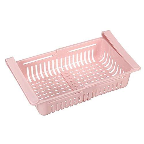 Estante de almacenamiento, Organizador de cocina Estante de almacenamiento de refrigerador de cocina ajustable Estante de almacenamiento de refrigerador Congelador Cajón extraíble - Rosa