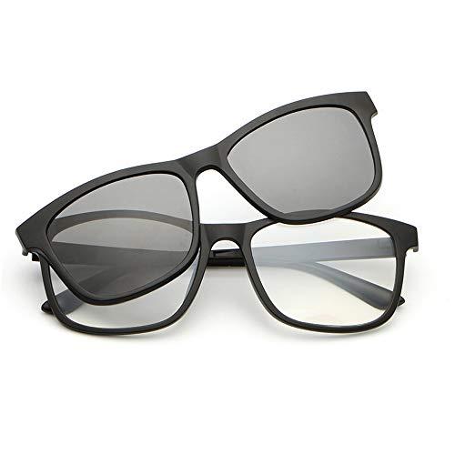 XXY Gläser Gläser Polarisierte Sonnenbrillen Spiegelbrillen Magnet Sonnenbrillen Magnetclips Nachtsicht Myopie unisex (Color : Grau, Size : Kostenlos)
