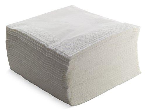 Morigami Servilleta 40x40, 2 capas, pliegue 1/4, 100 servilletas, 2 capas lisa con cenefa, Blanca