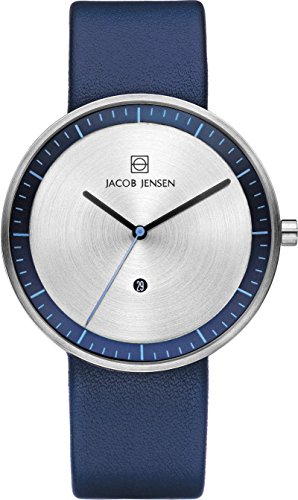 Jacob Jensen Unisex Analog Quarz Uhr mit Leder Armband 32272