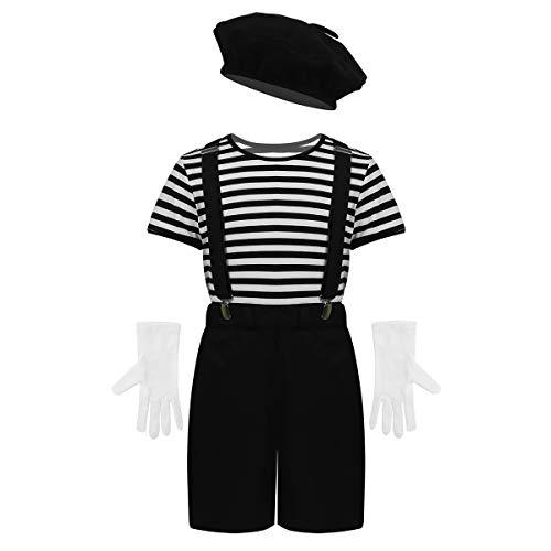 iiniim 4pcs Disfraz de Artista Francés para Niño Traje Infantil de Mimo Cosplay Halloween Camiseta a Rayas Guantes Blancos Boina Tirantes 7-12 Años Negro 8 Años