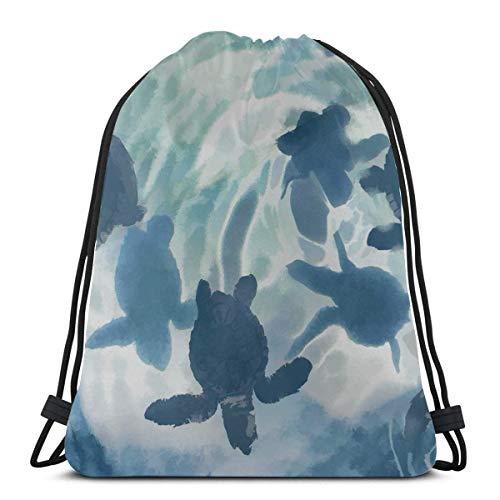 AEMAPE Baby Turtle Baby Tier gerade geboren und Schwimmen in Oce Beach Kordelzug Taschen Gym Bag Kordelzug Outdoor Kordelzug Tasche für Gym Reisen
