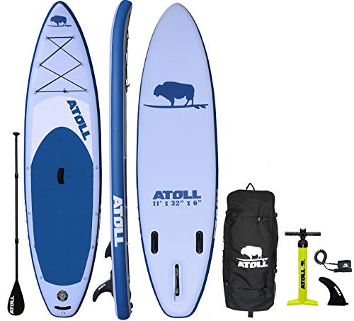Atoll 11 Foot Inflatable Stand Up Paddle Board (6 Inches Thick, 32 inches Wide) ISUP, Bravo Hand Pump and 3 Piece Paddle, Travel Backpack and New Paddle Leash Included (Light Blue)