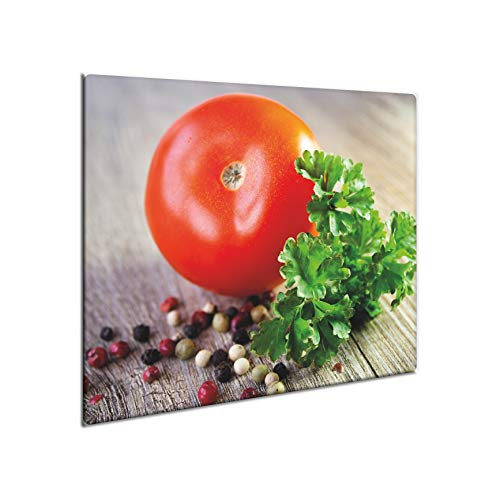 CTC-Trade | Herdabdeckplatten 60x52 cm Ceranfeld Abdeckung Glas Spritzschutz Abdeckplatte Glasplatte Herd Ceranfeldabdeckung Küche Rot Tomate