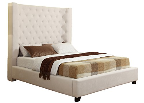 Best Master Furniture Jamie Upholstered Tower Contemporary Bed, King, Cream