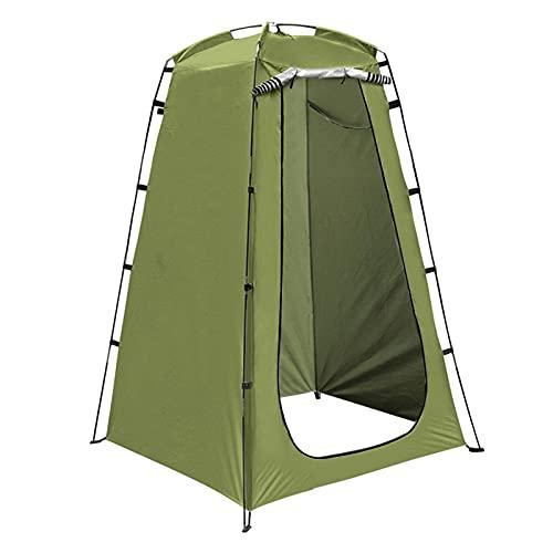 Faderr Tienda de campaña de ducha portátil cambiador de tienda de campaña para el inodoro al aire libre, 120 x 120 x 190 cm, con barra de estaca, cuerda, bolsa de almacenamiento (verde)