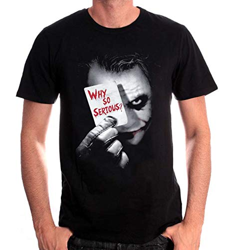 cotton division Joker Why So Serious Camiseta, Negro, XL para Hombre
