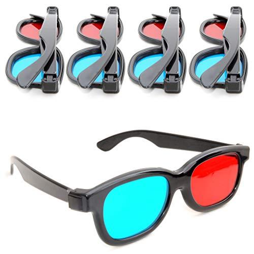Ganzoo 4er Set 3D-Anaglyphenbrille für TV oder PC-Spiele (rot/blau), 3D Brille für Fernseher, 3D-Gläser mit Anaglyphen-Technologie - Marke