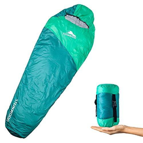 Steinwood Saco de dormir ultraligero de verano, para camping, para exteriores, saco de dormir tipo momia