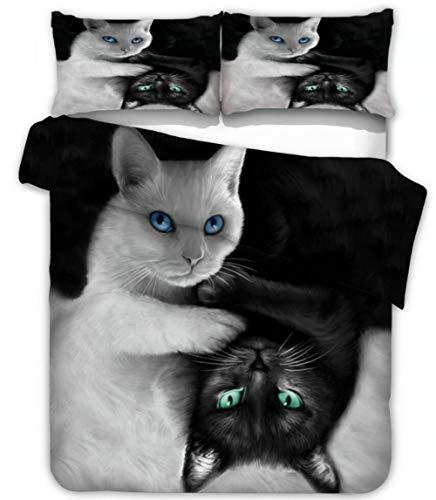 Snoevpar Bedding Duvet Cover Black White Animal Cat 200 * 200Cm Printed Quilt Cover With Zipper Closure,3 Pieces(1 Duvet Cover + 2 Pillowcases), Soft Polyester Fiber Gothic Bedding