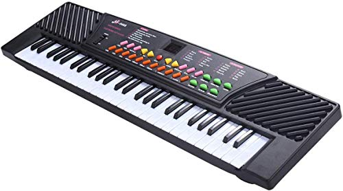GOFLAME 54-Key Electronic Keyboard Piano with LED Digital Display, Portable Electronic Musical Instrument with Microphone & Adapter, Suitable for Kids and Beginners (Black)