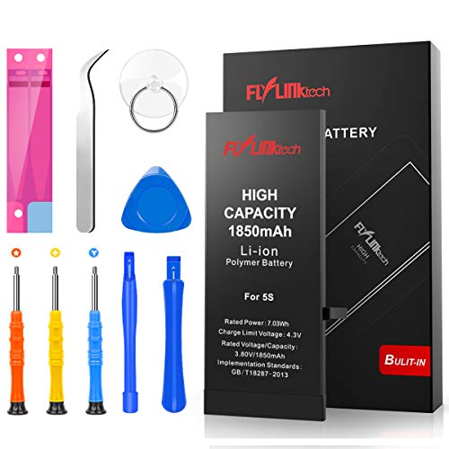 Batteria per iPhone 5S Alta Capacità 1900mAh Batteria Interna di Ricambio in Li-ion, Strumenti di Riparazione Professionale Completi con Kit Sostituzione, Cacciavite Strumenti e Adesivo