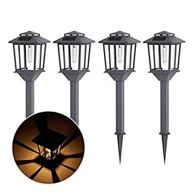 BLUU 4 Pack Premium Solar Pathway Lights, Aluminum Alloy Outdoor Path Garden Lights Glass, IP 65 Waterproof Solar Landscape Lights with 3 Kinds Replaceable Light Source for Patio, Yard & Driveway
