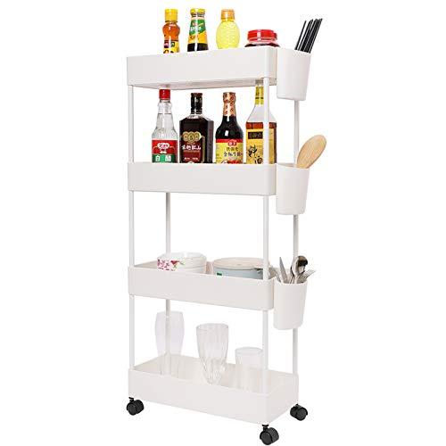 JAKAGO - Carrito de almacenamiento deslizante, 4 niveles, estante organizador de utilidad, estantes angostos, unidad móvil para despensa, cocina, oficina, baño (blanco)