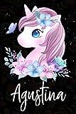 Agustina: Cuaderno de notas unicornio para niña con nombre personalizado Agustina, cuaderno unicornio , perfecto regalo de cumpleaños y navidad o San Valentíno ,110 paginas, Cubierta negra brillante