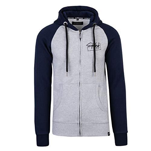 Spitzbub Herren Hoodie Pullover mit Kapuze Sweatjacke Kapuzenpullover Carlo Grau/Blau in XL