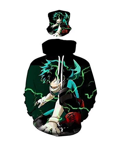 ZeroGoo 2Pcs Anime Mha Bnha Deku Izuku Midoriya Hoodie Pullover Sweatshirt Cosplay Costume Clothes with Face Mask for Men Women Kid (Green-black, Medium)
