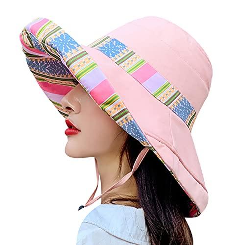 OADOBKICE Cappello da Esterno Donna UPF 50 Anti UV Hat Cappelli Donna Cappello Regolabile Cappello Falda Larga Cappello Sole Donna Cappello da Sole Cappello Antivento Donna Nero Cappello Rosa1 M