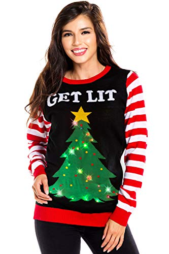 Tipsy Elves Women's Light Up Christmas Sweater - Black Lit Funny Ugly Christmas Sweater Female: Small
