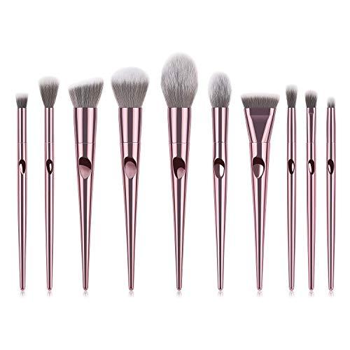 JFFFFWI Ensemble de pinceaux de Maquillage avancé - 10 pièces en Or Rose Major Kabuki Cosmetics Foundation Mélange de pinceaux de Maquillage